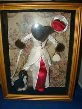 "Barbie Dress in Shadow Box Display Case With Dog real Fur Accents 14""by 11"" Rare"
