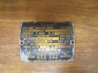 WAGNER INDUCTION MOTOR ST LOUIS USA Old Equipment Nameplate Small Sign *NOAG