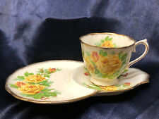 ROYAL ALBERT TEA ROSE YELLOW DESSERT SNACK PLATE & CUP SET TENNIS PLATE GOLD