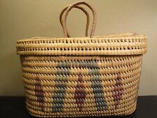 Handmade Wicker Bag with Sliding Lid Straw Woven Tote Grocery Bag