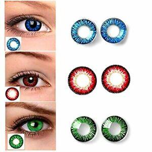 Monthly Dark Blue, Red & Green Lens with solution and cases 3 Pair
