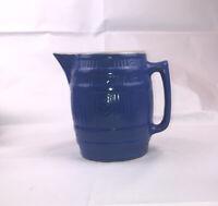 "Vintage Blue 7 3/4"" Stoneware Barrel Shaped Pitcher Cornflower Dryden ? EUC"