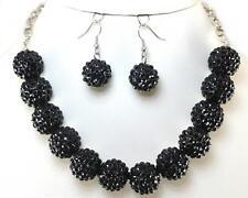 Elegant Black Crystal Fireball Silver Link Earrings Necklace Jewelry Set