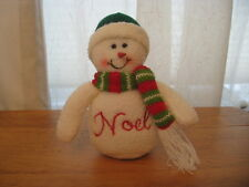 CLOTH SNOWMAN ORNAMENT W/ KNIT HAT & SCARF & EMBROIDERED FRONT NOEL