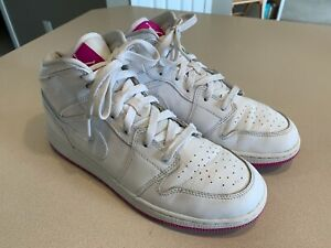 """JORDAN Girl's """"1 Mid GS"""" White/Pink Leather Bball Shoes Size 7Y"""