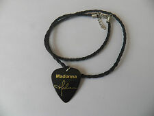 """MADONNA Guitar Pick signature gold stamped leather braid twist 18"""" NECKLACE"""