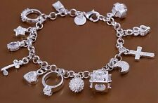 925 STERLING SILVER Mixed Charm Pendants Bracelet Bangle Fashion Jewelry New