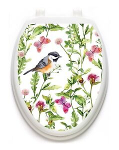 Toilet Tattoo Vinyl Lid Cover Removable Reusable Robin in the Garden  1129 USA