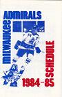1984-85 MILWAUKEE ADMIRALS HOCKEY POCKET SCHEDULE - MILLER BEER
