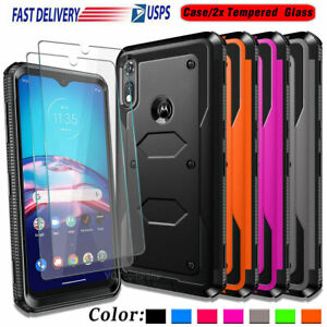 For Motorola Moto E 2020 / XT2052DL Case Shockproof Hard Cover + Tempered Glass