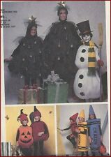 Snowman Xmas Tree Pumpkin Crayon Jack-o-lantern Costume Sewing Pattern Child 2 4
