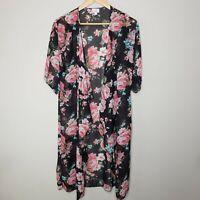LuLaRoe Shirley Kimono Black Pink Floral Print Small Cover Up Duster Waterfall