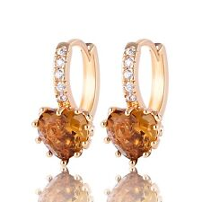 Lovely Yellow Sapphire Topaz Heart Shape Cut Yellow Gold Filled Ladies Earrings