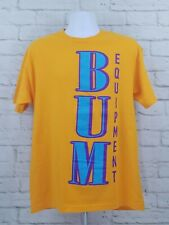 Bum Equipment Spell Out T-shirt Mens Large Tee Yellow Blue Single Sided A14