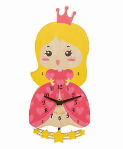 CHILDRENS WOODEN PRINCESS PENDULUM WALL CLOCK WITH TICKING STARS BY KIDCRAFT