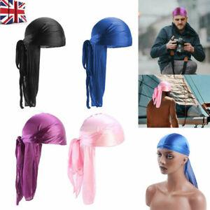 Men Silk Cap Wrap Satin Long Tail Doo Durag Headwear Pirate Bandana Turban Hat/1