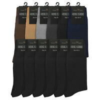 (6 Pairs) Mens Solid Classic Dress Socks Cotton Blend Premium Quality