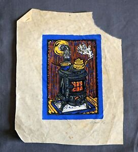 Country Pot Belly Stove # 3 Wood Block Print Colored by 'Baru' Alan Eichman