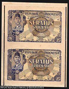 INDONESIA 100 RUPIAH P-35 G 1949 UNCUT SHEET SUKARNO RARE UNC LARGE 2 BANK NOTES