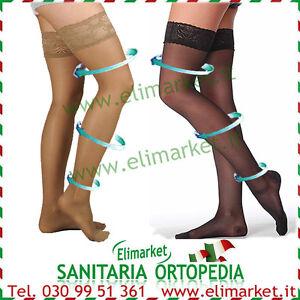 Autoreggenti elastiche graduate pizzo sexy calze 140 den varici vene varicose