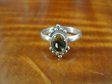 925 Ring Size 6 3/4 Light Yellow Stone Band Sterling Silver