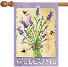 New Toland - Lavender Welcome - Spring Bouquet Bee Double Sided House Flag