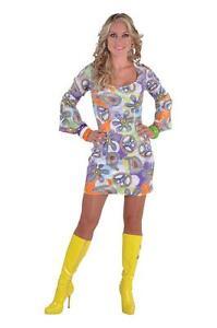 70er 80er Jahre Kleid Kostüm Flowerpower Damen Party Hippie Hippy Hippiekostüm