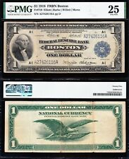NICE Bold & Crisp VF 1918 $1 BOSTON Green Eagle FRBN Note! PMG 25! A27426116A