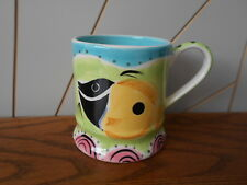 TROPICAL FISH beautiful hand painted tankard shape coffee mug WHITTARD