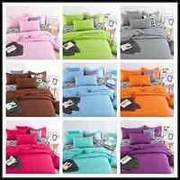 Solid Color Duvet Cover Set Quilt Cover Pillowcase Cotton Bedding Set Twin Queen