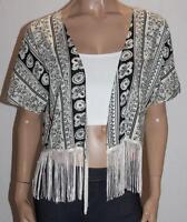 ally Brand Black White Fringe Kimono Cardigan Size M/L BNWT #sO24