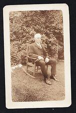 Old Antique Vintage Photograph Older Man Sitting In Rocking Chair In Garden