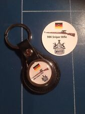 Mauser 98K SNIPER RIFLE  REAL LEATHER KEY RING  &  Mauser Sticker