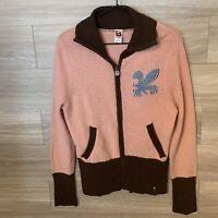 Burton Women's Sz M Full Zip Cardigan Sweater Pink And Brown