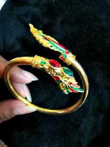 Bracelet Naga Eye Gem Brass Thai Magic Amulet Gold Talisman Success Luck Love