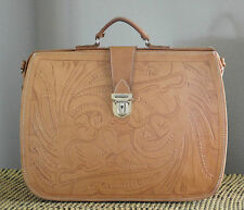 Vintage Hand Tooled Leather Briefcase with Key, M. R. Canoa Industria Argentina