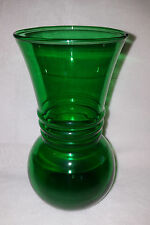 Vintage Forest Green Anchorglass Anchor Hocking Water Jar Flower Vase
