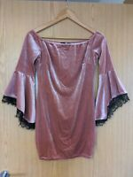 Women's Pink Velvet Off the Shoulder Flute Sleeve Boohoo Bodycon Dress Size 10