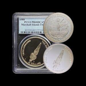 1988 Marshall Islands 25 Dollars (Silver) - PCGS PR68DCAM - Top Pop 🥇 Twister