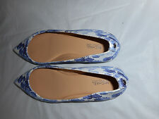 Michael Kors Arianna Flat Printed SHOES  6m  NEW IN BOX BLUE