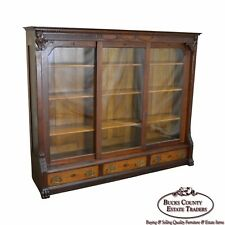 Antique Victorian Renaissance Oak 3 Door Claw Foot Bookcase w/ Drawers