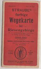 Straube`s farbige Wegekarte vom Iser - und Riesengebirge 1909 Landkarte !