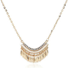 Women Rhinestone Collier Gold Tassel Necklace Bib Pendant Long Chain Necklace
