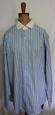 POLO RALPH LAUREN ~ Mens Blue White Green Striped White Collar Business Shirt L