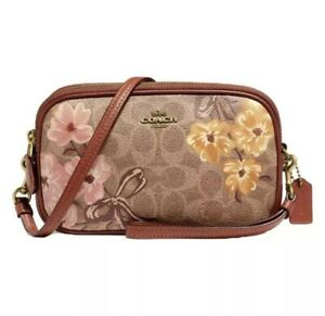 NWT Coach 66666 Sadie Crossbody Clutch In Signature Canvas With Prairie Floral