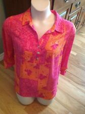 INVESTMENTS L Pink/Rose Orange/Gold LS w/Button Roll Up, Hi Low, Semi Sheer