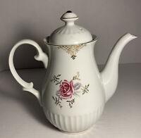 GRANTCREST VINTAGE PORCELAIN GOLD TRIMMED MOSS ROSE TEA POT