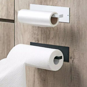 Self-Adhesive Kitchen Paper Towel Rack Toilet Roll Holder Wall Mount Tissue UK