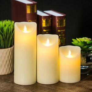 2Pcs Flameless Real Wax Flickering LED Candles Christmas Halloween Wedding Decor