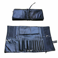 Beautydec Black Faux Leather Brush Roll Makeup Organizer Travel Cosmetic Bag New